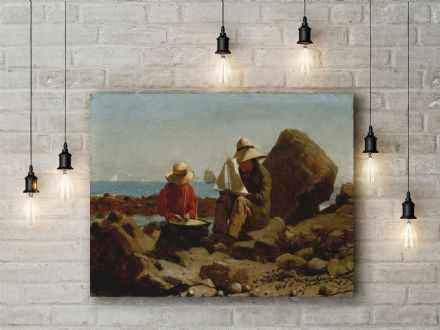 Winslow Homer: The Boat Builders. Fine Art Canvas.